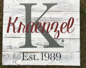 Personalized Family Name Wooden Sign, Last Name Sign, Wedding Gift, Family Sign