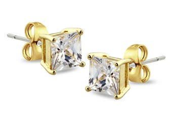 Gold Plated 316L Stainless Steel 3mm, 4mm, 5mmProng Square CZ Stud Earring