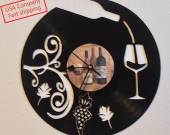 Wine lovers vinyl record clock *FREE SHIPPING*