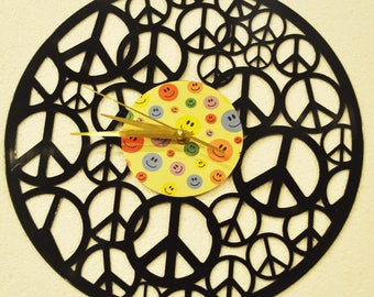 Peace themed Vinyl Album Record Clock made in the > USA < with FREE Shipping!