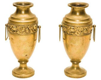 Solid Brass English Art Deco Urns- A Pair