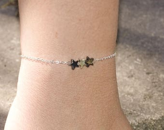 collier jasmin / chaîne rosaire plaqué or avec perles