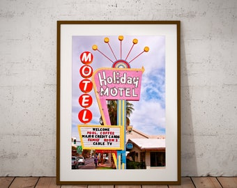 Neon Sign Art,Vintage Art,Las Vegas Art,Kitsch Art,Holiday Art,Motel Art,Downtown Vegas,Nevada Art,Room Decor,Dorm Art,Large Wall Art Print,