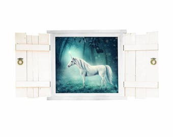 026 wall decals Unicorn in the window with shutters