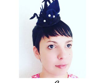 Blue and Black Mini Fascinator in Millinery Felt and Sinamay fabric and pearls.