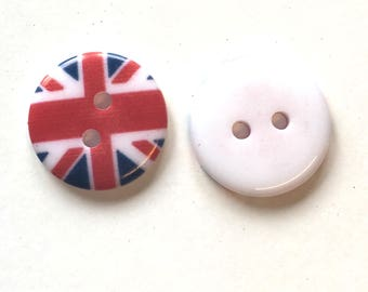 Union jack buttons, 18mm buttons, pack of 10, resin buttons, craft buttons, English flag buttons, acrylic buttons, patriotic buttons