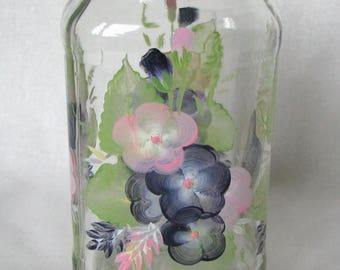 Glass Jar, Storage Jar, Hand Painted, Kitchen Storage, Kitchen Decor, Blue, Floral Decorate, Glass Container, Kitchen Art