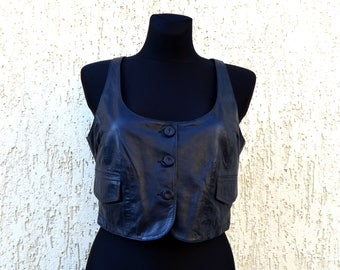 Womens Leather Vest Open Back Lamb Leather Vest Vintage Dark Blue Cropped Soft Leather Boho Festival Top Country Waistcoat Small Size