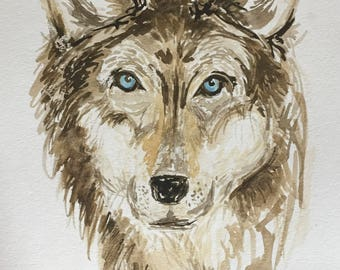 WOLF Watercolor Painting - WILD SERIES