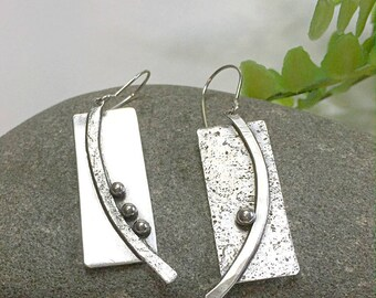 Sterling Silver Dangle Earrings, Sticks and Stones Earrings, Cilla Earrings, Hypo Allergenic Earrings, Handmade Earrings