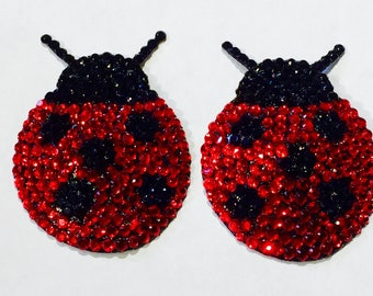 Ladybug Rhinestone Burlesque Pasties for Stage, Boudoir, Pinup