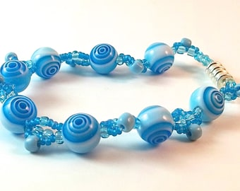 Blue and White Mix Bead Bracelet