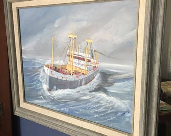 Vintage Original Painting of a big ship in High Seas signed by Artist DTomlinson