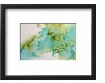 Aqua and Green Alcohol Ink on Yupo Paper abstract wall art