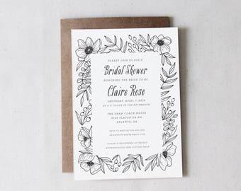Printable Black and White Floral Bridal/Baby Shower Invitation // Modern Floral // Bohemian Wedding // Anemone Invitation // DIY