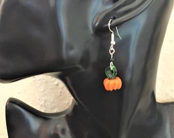 Pumpkin earrings, Halloween earrings, Pumpkin jewellery, Halloween jewellery item 732 by CraftyLittleMonkeyGB