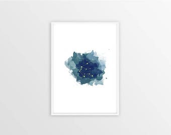 A3, Aquarius, Zodiac sign, Stars, Constellation, Wall art, Decoration, Home decor, Print, Mural Art, watercolor