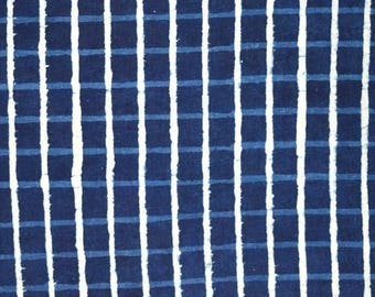 10% Off On Blue And White Check Print Cotton Fabric by the Yard