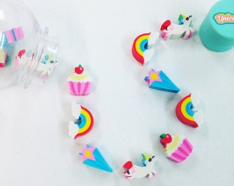 Mini Unicorn & Rainbow Eraser Pot, Collectable, Gift, Office, Rubber, Back to School