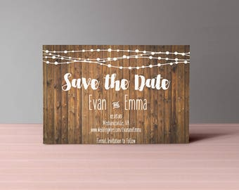 Rustic Save the Date- DIY PRINTABLE Customizable Digital Prints