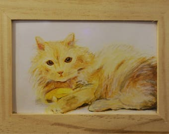 Original color pencil with wooden cat Dingge frame drawing