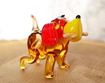Glass dog with bone figure fused glass animals gift for Christmas glass figure menagerie miniatures statue glassworking hand made art