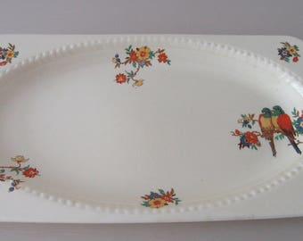 Vintage Gift. 1930 Parrot Plate. Rectangular 'Parrot' Sandwich Plate 759778. 1930 Sandwich Plate. Parrot Plate. Vintage Plate.
