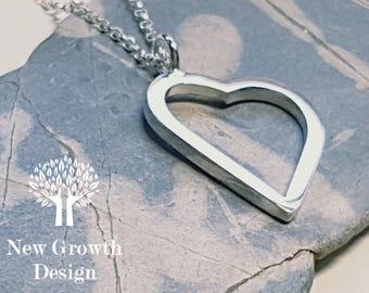 Large Heart Pendant, silver heart, silver necklace, silver jewelry, heart jewellery,