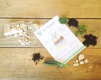 DIY Terrarium Kit, Small Cork Glass Bottle Terrarium, Miniature Garden, Living succulent Terrarium, Green Thumb Garden, Small DIY Gift, Baby