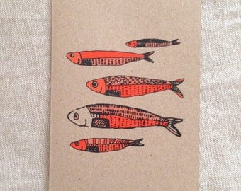 Fish Orange Card, greeting card, blank card, kraft paper, rustic card, raw, any occasion card, organic card, nature, sea creature card