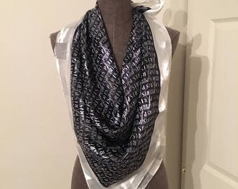 Polyester scarf with Paris and Eiffel Tower print! Navy abd white! 38x38 inches!