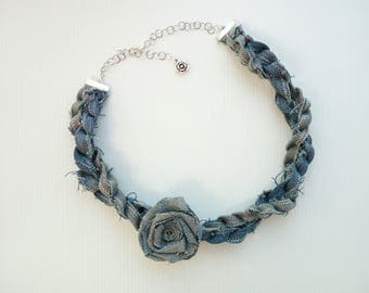 Denim necklace with rose applied