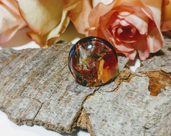 Round ring, hand painted ring, adjustable ring, gold red ring, silver color ring, cabochon ring, homemade jewelry, ring gift, vintage ring