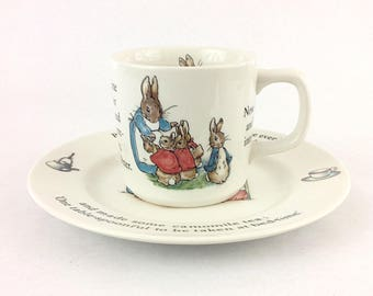 Vintage Peter Rabbit Toddler 2 Piece Set Plate Cup Wedgwood Made in England Beatrix Potter Baby Shower Nursery