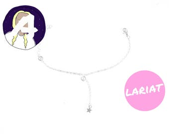 thin silver lariat anklet - dainty chain anklet - simple silver anklet - silver lariat ankle bracelet - silver anklet - anklet gifts