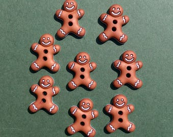 Gingerbread Man Buttons - Dress it Up Iced Cookies - Christmas Embellishment - Holiday Crafts - Gingerbread Cookie Decoration - Iced Biscuit