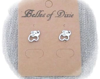 SILVER Elephant Stud Earrings ~ Elephant Post Earrings ~ Elephant Jewelry ~ Sorority Gift Delta Sigma Theta ~ Good Luck Jewelry