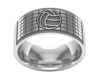 Volleyball Band Ring in Sterling Silver Metal, Volleyball Ring, Volleyball Jewelry, Sports Band Ring, Silver Wedding Ring, Wedding Band Ring