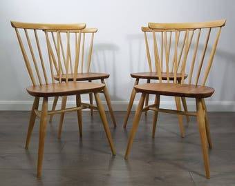 Ercol Dining Four 4 Bow Top Chairs - Vintage Retro - Refinished - Delivery