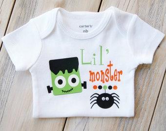 Lil' Monster-Halloween-Frankenstein-Baby Girl or Boy Onesie-Fall-Custom Onesie-Baby Girl-Halloween Candy-Costume-Baby Costume-Spider
