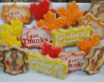 Give Thanks Thanksgiving Themed Cookies