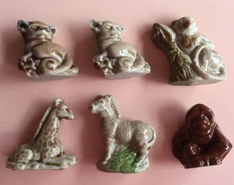 Vintage Red Rose Tea Wade Ceramics animal figurines, gift with purchase, Made in England, miniature figures, Jungle Animals