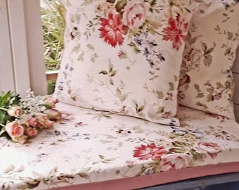 Window Seat Cushions Shabby Chic English Vintage Floral Bench Cushions Summerhouse Window Bench Bespoke Handmade Made