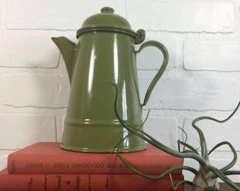 Enamel Kettle / Vintage Green Enamel Kettle / Vintage Green Camping Kettle / Vintage Enamel Teapot/ Vintage Polish Enamel Kettle
