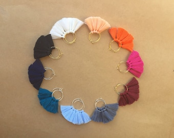 Small Hoop - Cotton Fringe Tassel Earrings / gold + silver / various colour options