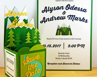 Pop Up Mountain Wedding Save the Date, Mountain Wedding Invitation, Forest Wedding Invitation, Custom 3D Pop Up Box Card, CardBloom