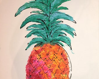 Abstract Pineapple Painting