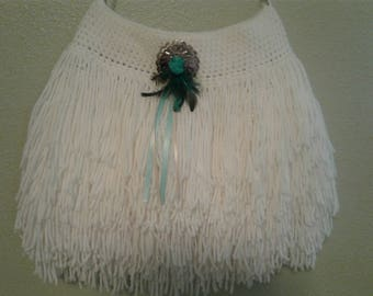 Boho Crocheted Fringe Shoulder Bag