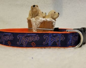 Tigers Basball Handmade Dog Collar 1 Inch Wide Large & Medium