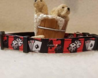 Casino Night Handmade Dog Collar5/8 Inch Wide Medium & Small